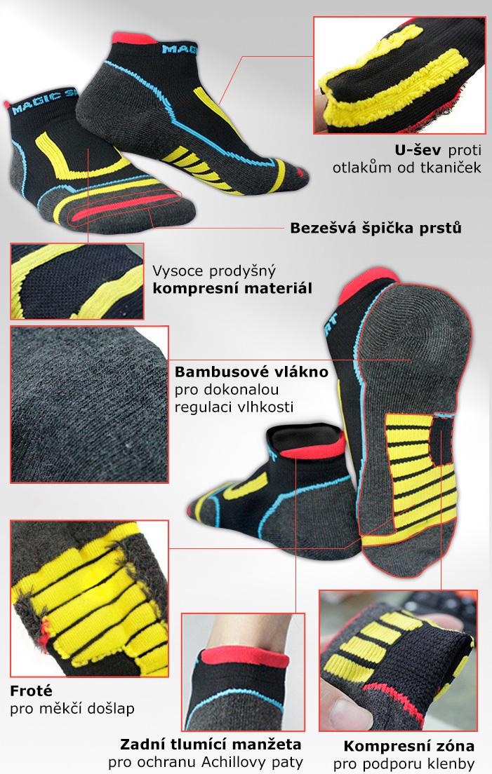 Sportovní ponožky s bambusovým vláknem